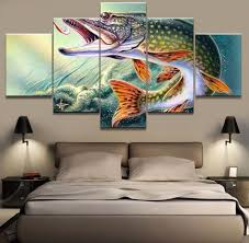 bass fishing home decor aliexpress com buy hd print 5pcs bass fishing painting canvas