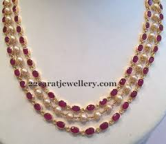 pearl ruby necklace images 3 line ruby necklace jewellery designs jpg