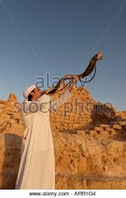 israel shofar israel masada the inauguration of the synagogue blowing the shofar