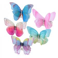 butterfly hair 3d organza butterfly wings with 2pcs a041