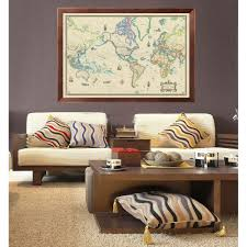 Framed Maps Of The United States by Modern Day As Antique Giclee Canvas Wall Map