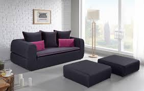 canapé avec pouf canapé avec 2 poufs couchage direct tara noir