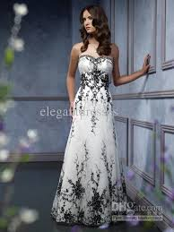 black and white wedding dresses cheap black embroidery accented a line black and white