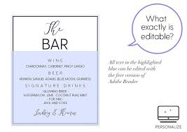 wedding bar menu template navy calligraphy wedding bar sign menu template
