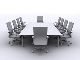 Galant Conference Table Modern White Wooden Conference Table And White Swivel Chairs