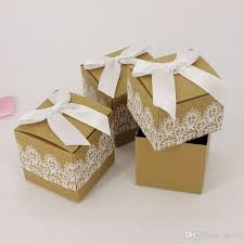 high christmas wrapping paper brown sugar with white bowknot lace square gift boxes kraft