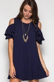 cold shoulder dress womens cold shoulder crew neck ruffle sleeve smock dress navy blue