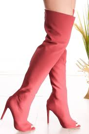 red single sole peep toe back zipper over the knee high heel boots