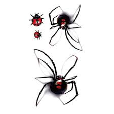 3d waterproof temporary stickers black spider designs