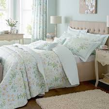 vintage laura ashley google cozy bedroom with floral duck egg blue and brown bedding