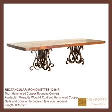 Copper Top Dining Room Tables 070 Rectangular Dining Table Iron Pedestal Chocolate Finish