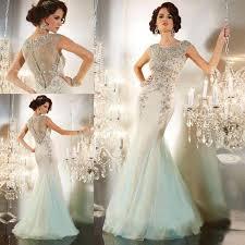 designer celebrity evening dresses crystals beaded mermaid long