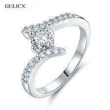 gulicx 2017 unique bow design finger rings gold color clear