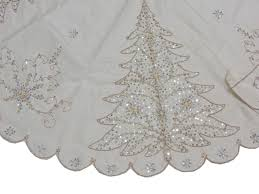 white tree skirt runner set novelty beaded