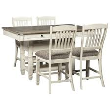 White And Wood Dining Chairs Bolanburg 5 Piece Counter Dining Set In Antique White And