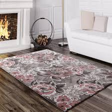 Wohnzimmer Grau Rosa Designer Teppich Blumen Grau Rosa Design Teppiche