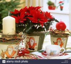 Christmas Table Decor by Poinsettia With Christmas Table Decorations Stock Photo Royalty