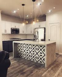 what to put on a kitchen island what a unique idea to put patterned cement tile on the