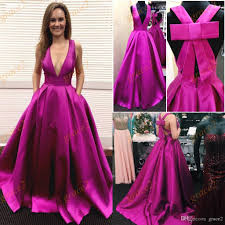 big bow prom dresses 2017 with deep v neck and criss cross straps