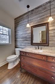 antique wood wall powder room with barn wood accent wall vanity from antique