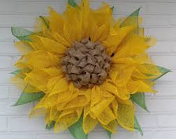 burlap sunflower wreath yellow poly burlap sunflower wreath with moss green leaves