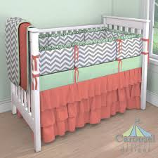 Mint Green Crib Bedding Nursery Crib Bedding In White And Gray Zig Zag Solid Mint Solid