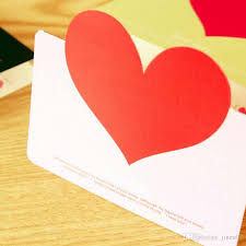2017 heart shape birthday greeting cards with envelope creative