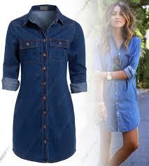 denim long sleeve mini shirt casual dresses for women ebay