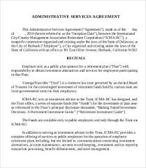 administrative services agreement template 9 free sample