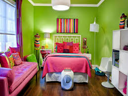 Lime Green And Purple Bedroom - lime green and pink bedroom with sofa and floor lamp also pink