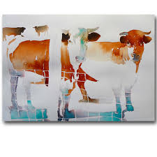 Cow Home Decor Frameless Pictures Abstract Cow Painting Canvas Printing