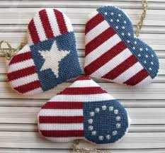 set of 3 spangled hearts stitched patriotic ornaments
