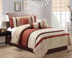 Bedding Set Queen by Piece Quilted Geometric Embroidered Spice Ivory Taupe Comforter Set