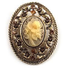 vintage floral cameo brooch antique gold