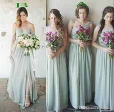 Summer Garden Wedding Guest Dresses - 2017 mint green chiffon bridesmaid dresses for summer beach