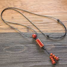 beads knots necklace images Long rope knot necklace for women red ceramic beads necklaces bead jpg