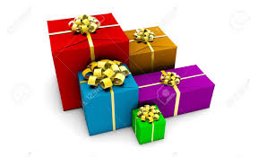 wrapped gift boxes of presents in colorful wrapping gift boxes stock photo