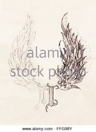 pencil drawing of an angel and a devil stock photo royalty free