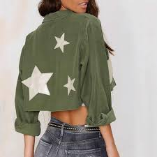 army pattern crop top stars embellished women army green crop top jacket short length new