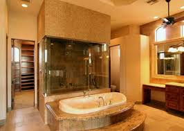 luxury built in tub and frameless mirror for cozy bathroom