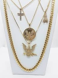 free gold necklace images 14k gold plated 5 chain combo free band gang bird and circle bird jpg
