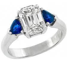 sapphire emerald cut engagement rings 1 94 carat cert emerald cut sapphire platinum ring for