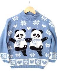 panda sweater 80s pandas tacky acrylic sweater