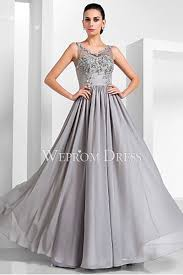 v neck silver retro prom dress uk with appliqued rhinestone chest