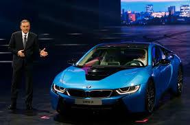 bmw ceo bmw ceo norbert reithofer presents bmw i8 hybrid supercar at