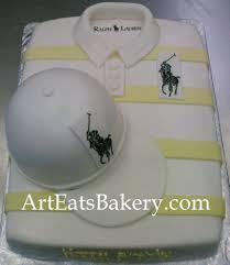 men u0027s white and yellow striped polo shirt birthday cake design