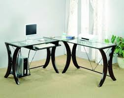 Home Office Furniture L Shaped Desk by Glass L Shaped Desk Home Painting Ideas Within Contemporary Glass