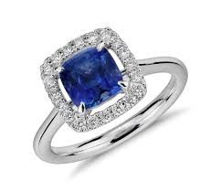 Diamond Cushion Cut Ring Floating Sapphire And Diamond Cushion Cut Halo Ring In 14k White
