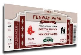 Fenway Park Seating Map Fenway Park 100th Anniversary Game Canvas Mega Ticket Boston Red Sox