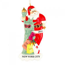 santa with statue of liberty personalized ornament